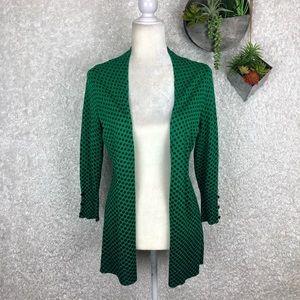 Saks Fifth Avenue Emerald Green Polka Dot Cardigan